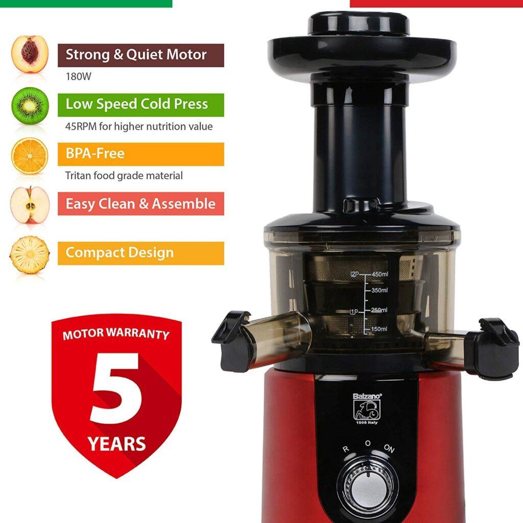 Balzano ZZJ827M 180 Watt Cold Press Slow Juicer