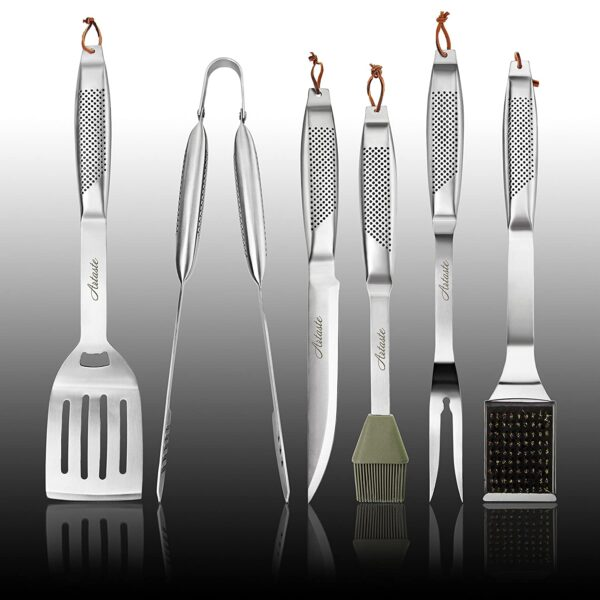 Artaste 59014 6 Piece Stainless Steel Hollow Handle Barbecue Tool Set