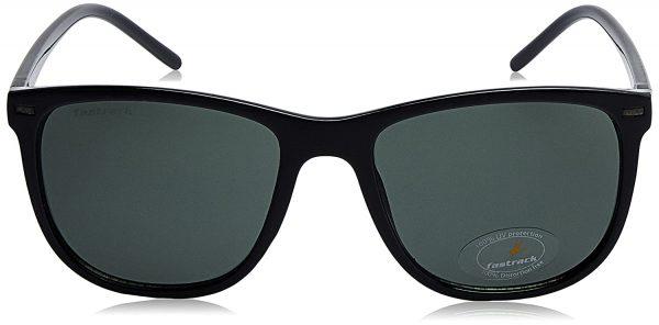 Fastrack Men Square Sunglasses Black Frame Green Lens