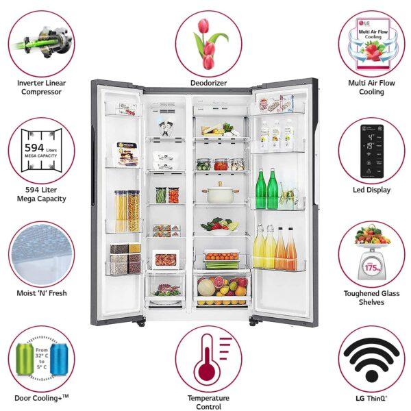 LG 594 L Wi Fi Inverter Frost Free Side By Side Refrigerator GC B22FTLPL