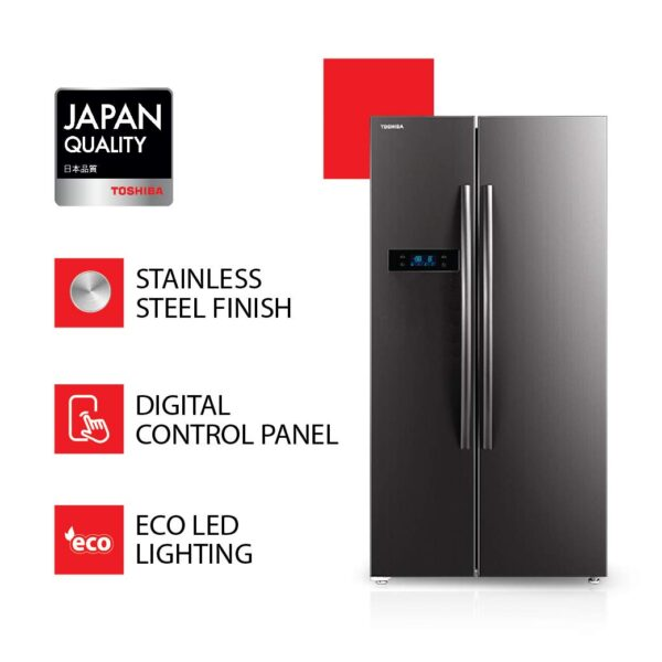 TOSHIBA 587 L with Inverter Side by Side Refrigerator GR RS530WE PMI06